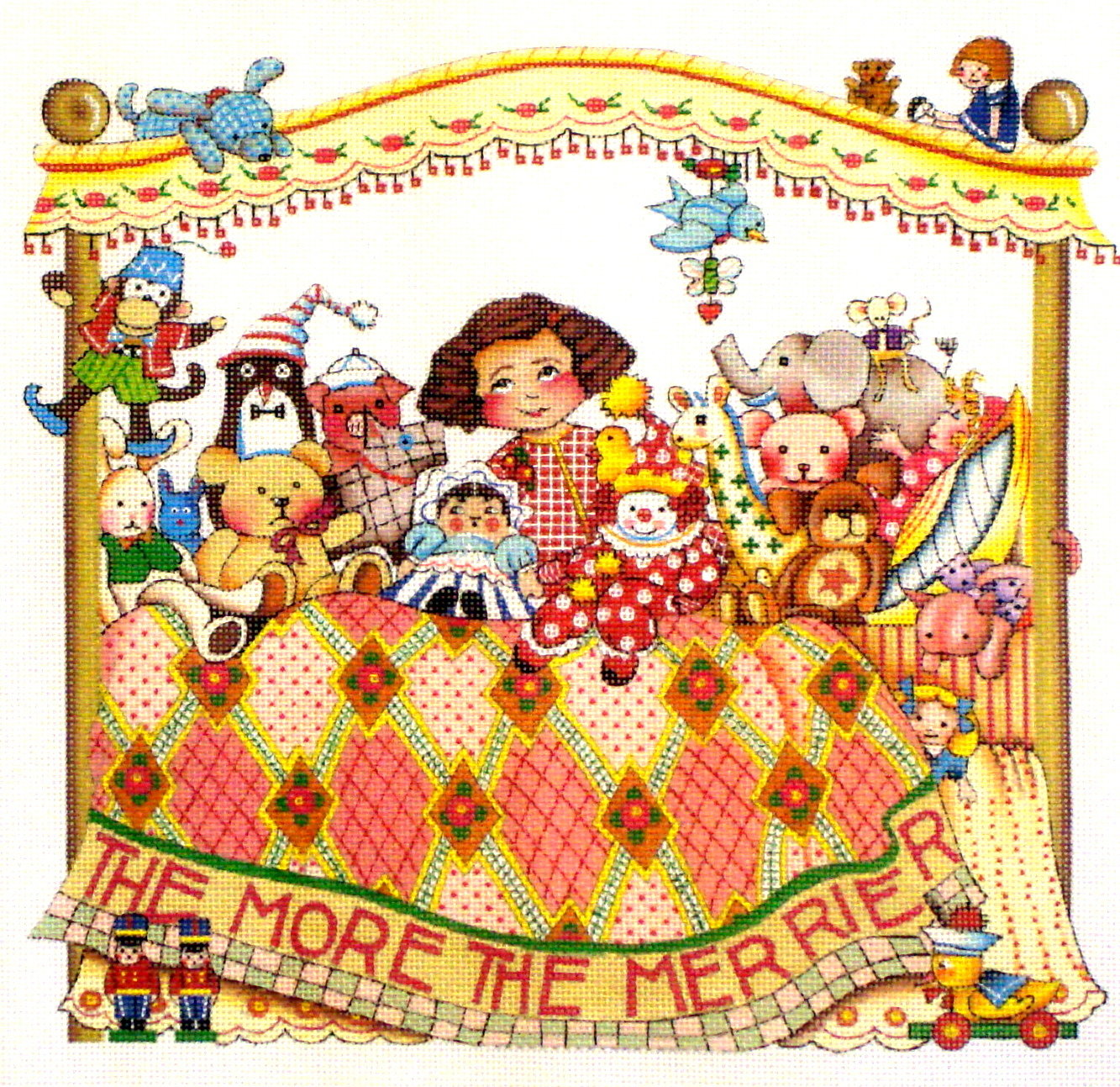 """""""The More the Merrier""""    (handpainted from Mary Engelbreit) 19*-ME-BF04B"""