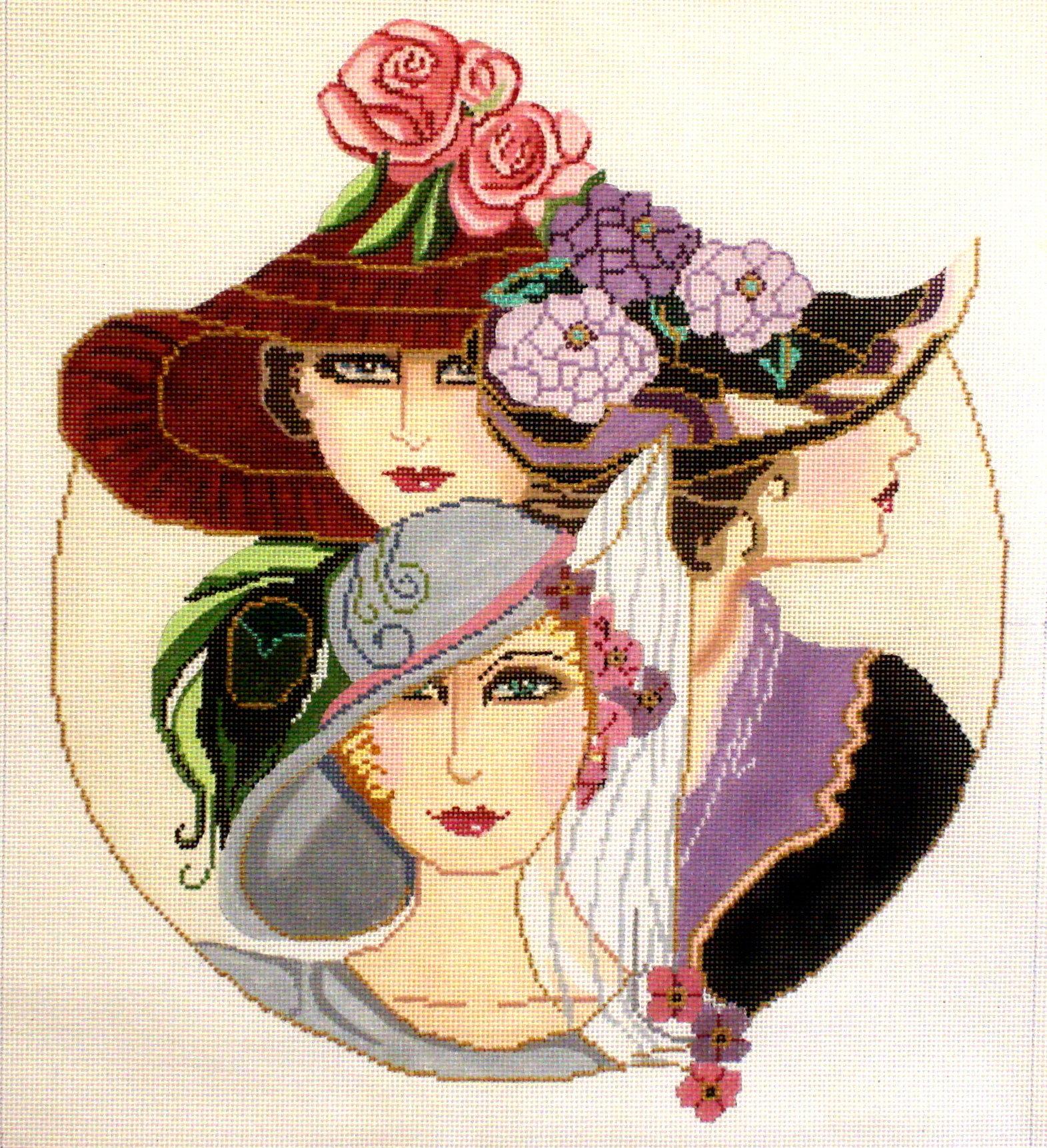 """""""3 Vogue Ladies""""     (handpainted by Sophia) 19*Sc-39"""