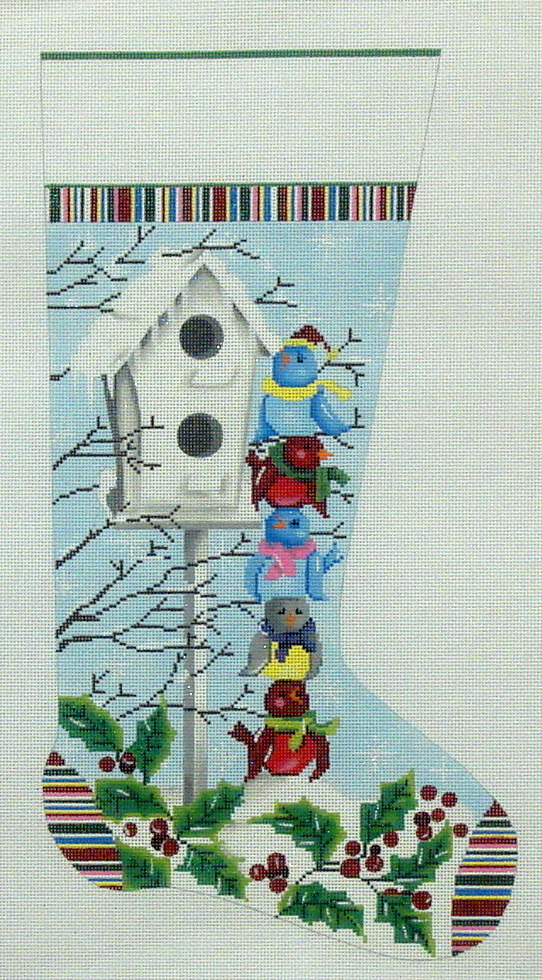 Birdies Stocking     (Handpainted by Alice Peterson Company) 18*2317