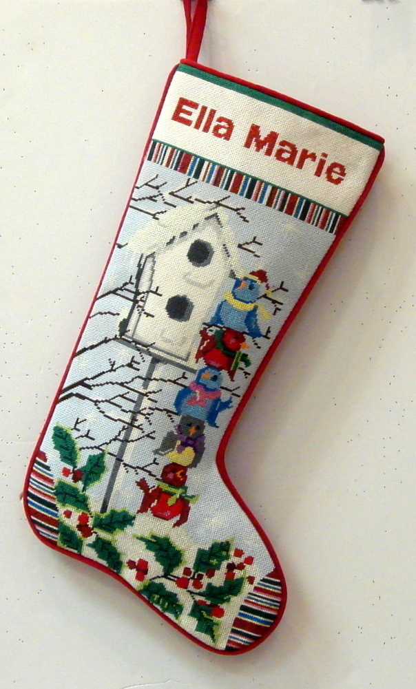 Birdies Stocking     (Handpainted by Alice Peterson Company)