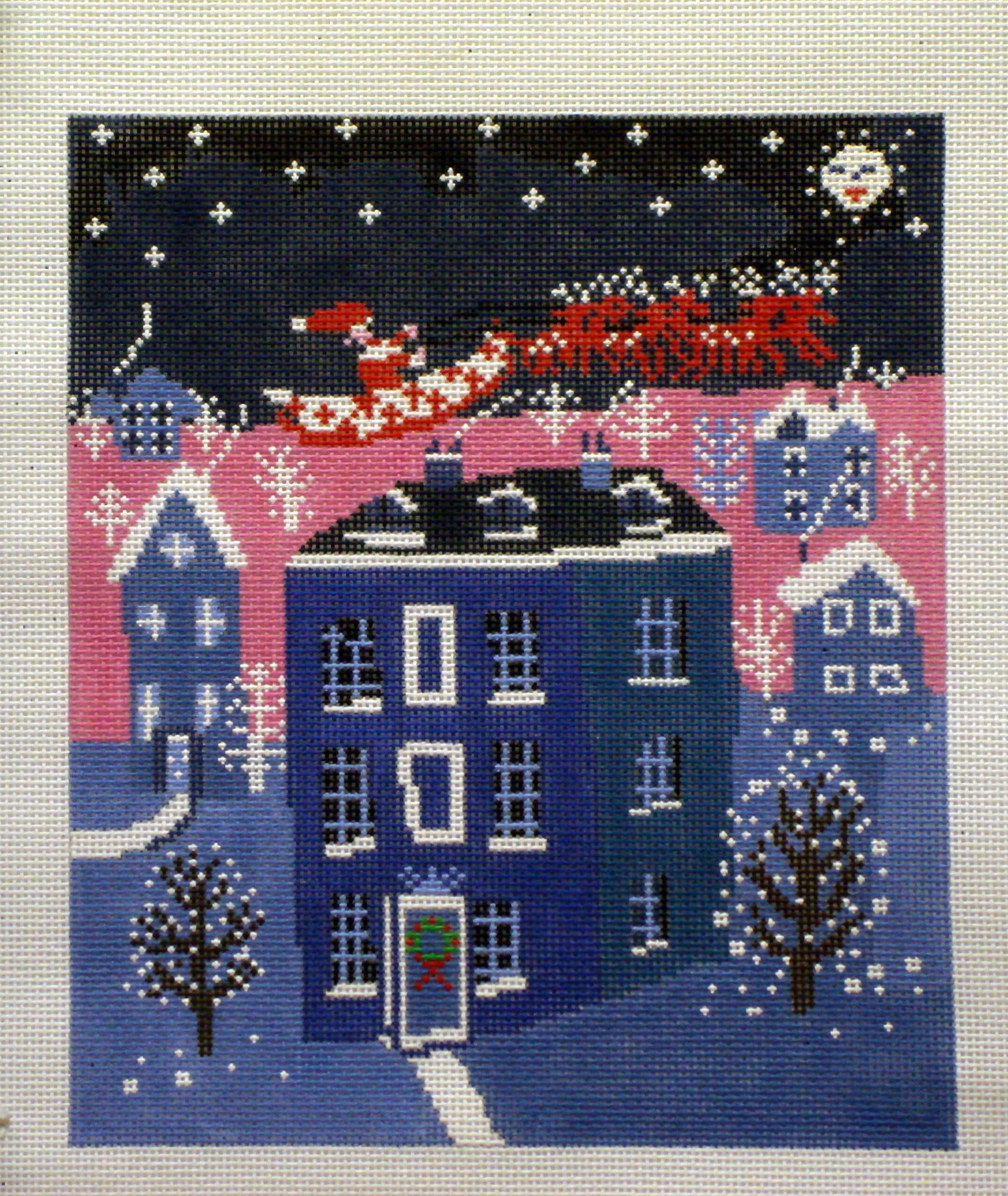 Christmas Eve (Handpainted needlepoint canvas by Birds of a Feather) 18*CC-706
