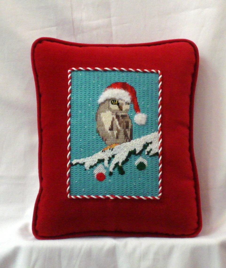 Christmas Owl  (handpainted needlepoint canvas by Scott Church CBK Needlepoint Collection) 18*SC-PL10
