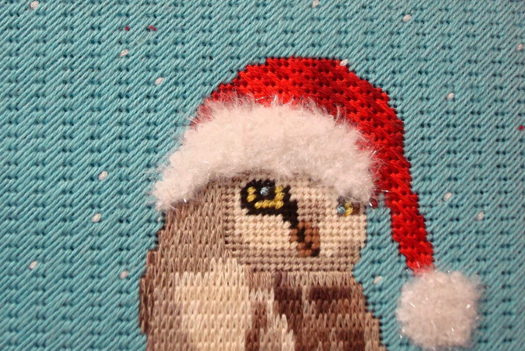 Christmas Owl  (handpainted needlepoint canvas by Scott Church CBK Needlepoint Collection)