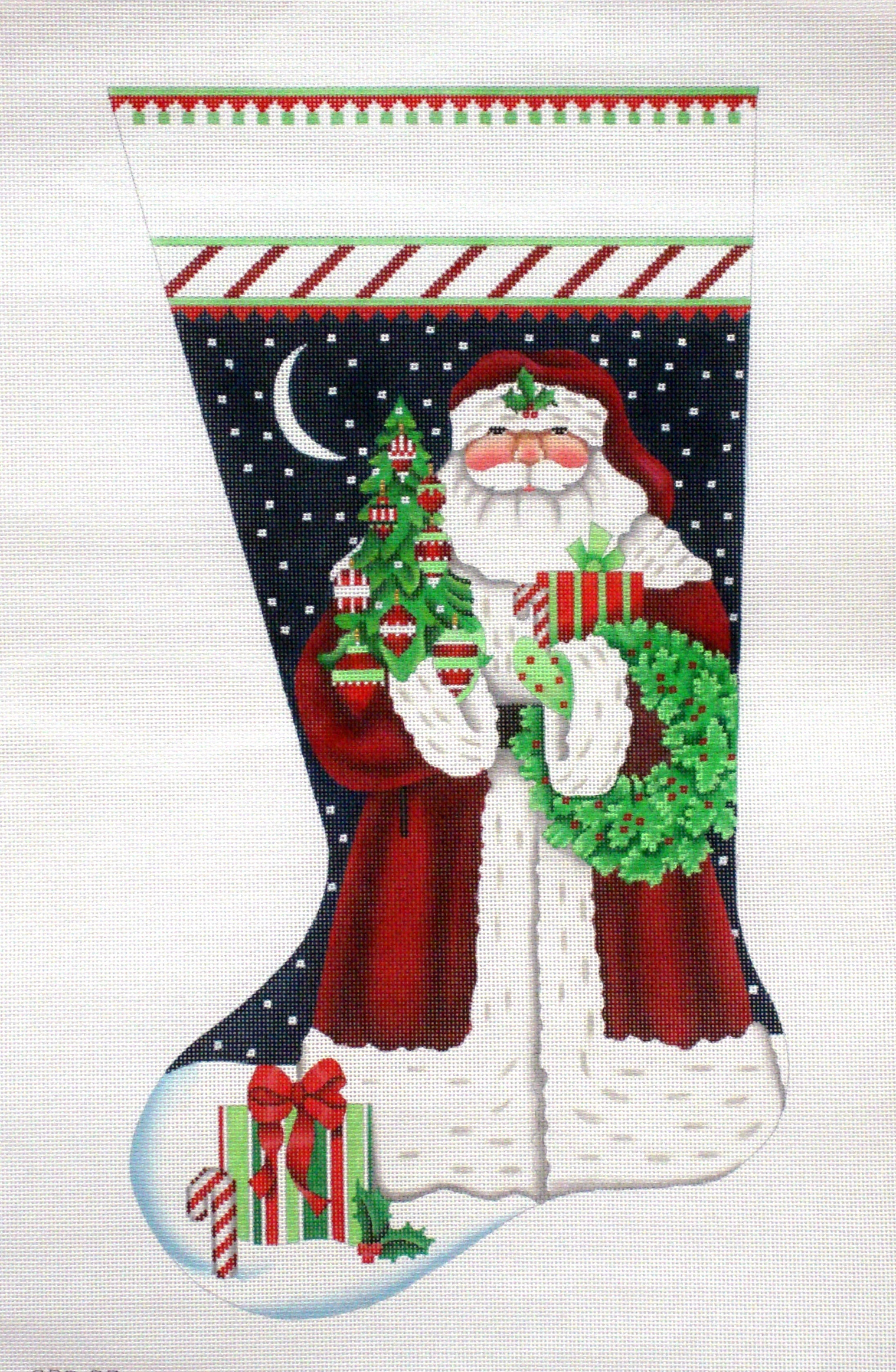 Classic Santa Stocking  (handpainted from Melissa Shiley Designs) 18*205QQ