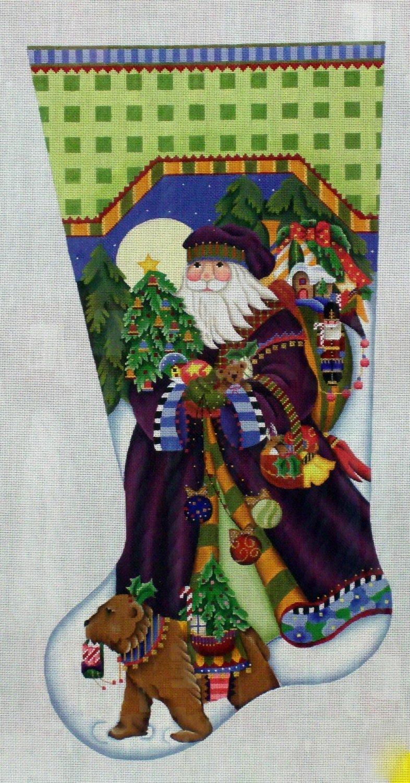 Fancy Santa Stocking      (handpainted by Melissa Shirley Designs)