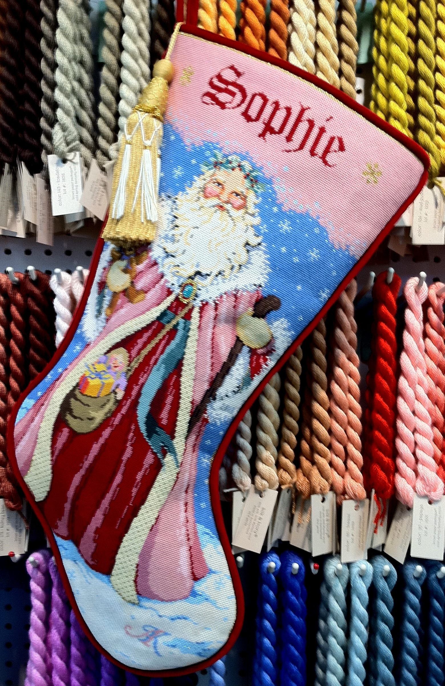 Father Christmas Stocking (Handpainted by Sandra Gilmore Designs)