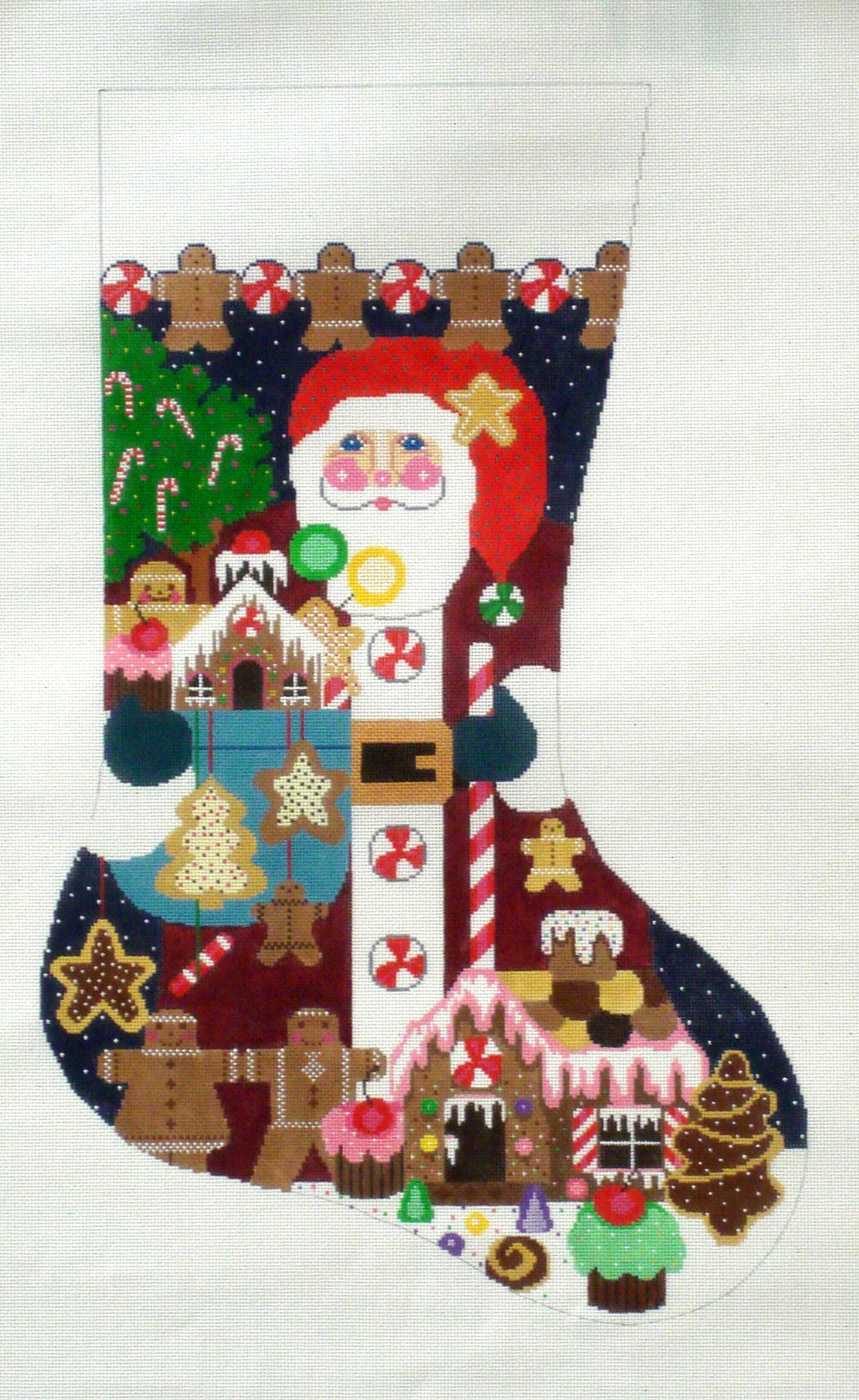 Gingerbread Santa Stocking    (handpainted by Shelley Tribbey) 18*CS40