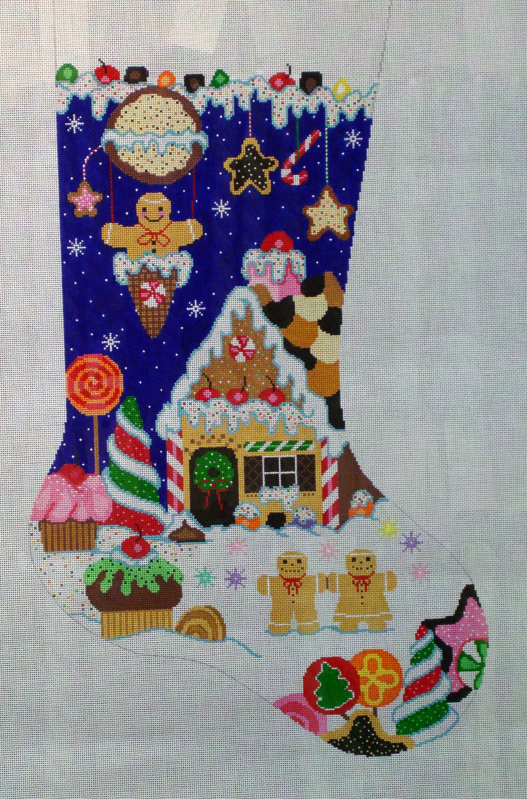 Holiday Sweets Stocking    (Handpainted by Shelly Tribbey Designs) 18*CS45