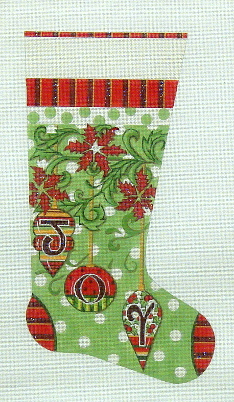 """JOY"" Christmas Stocking     (handpainted by Alice Peterson) 18*2135"