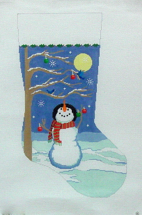 Moonlit Snowman Bird  Tree Stocking    (handpainted by Susan Roberts) 18*3207
