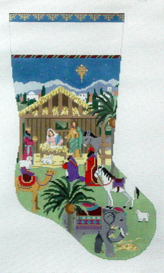 Nativity Stable Stocking   (handpainted by Susan Roberts) 18*0198