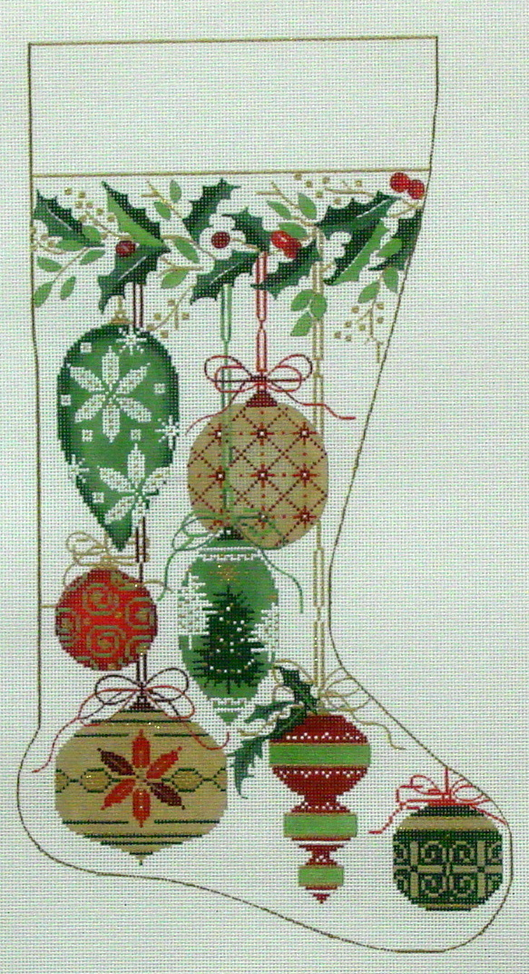 Natural Color Ornaments Stocking  (handpainted by Alice Peterson) 18*2578