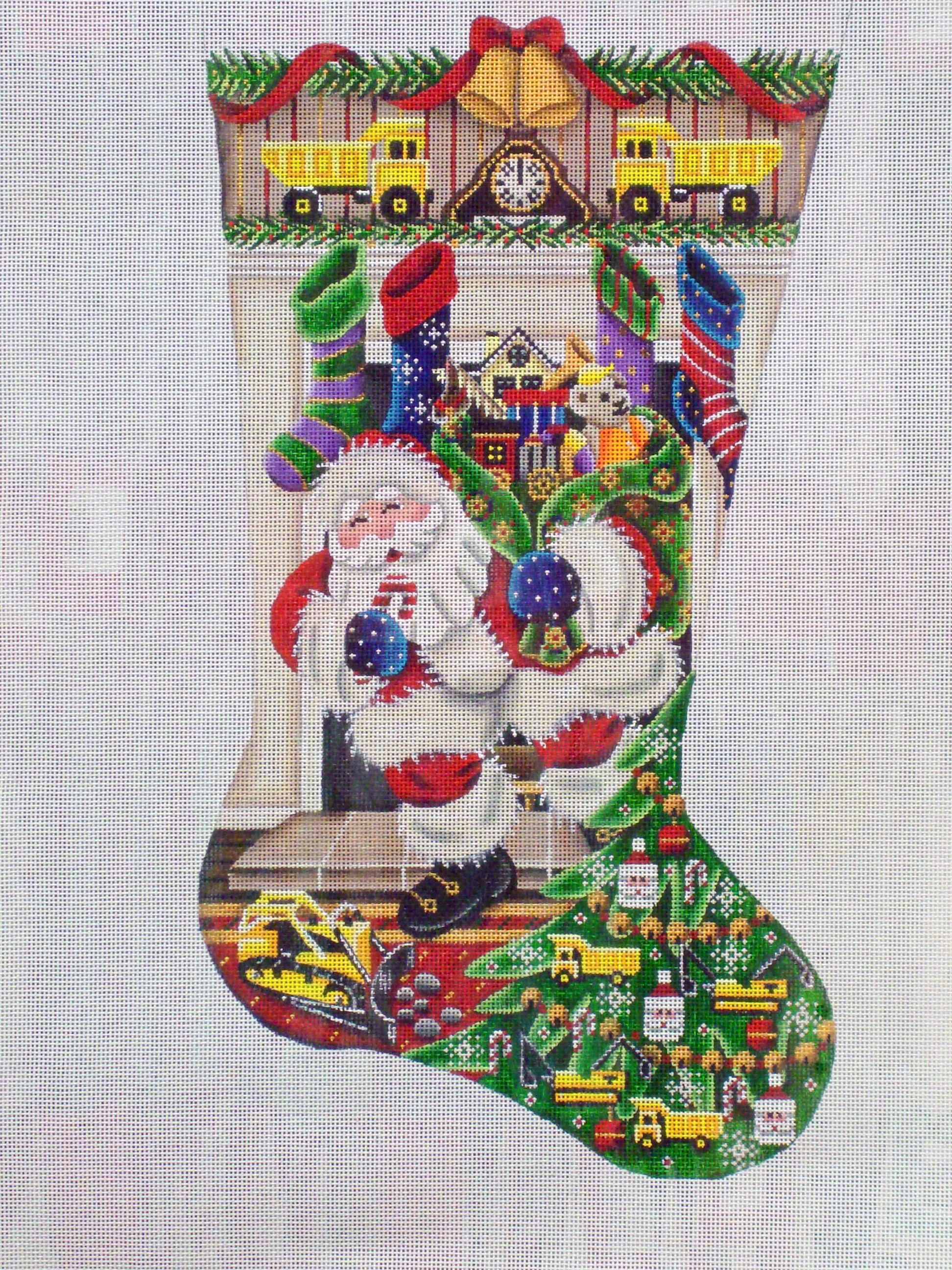 Out of the Fireplace Construction Toys Stocking   (handpainted by Rebecca Wood) 18*386C