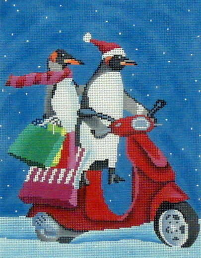Penguins on Scooter Shopping (Handpainted by Scott Church)