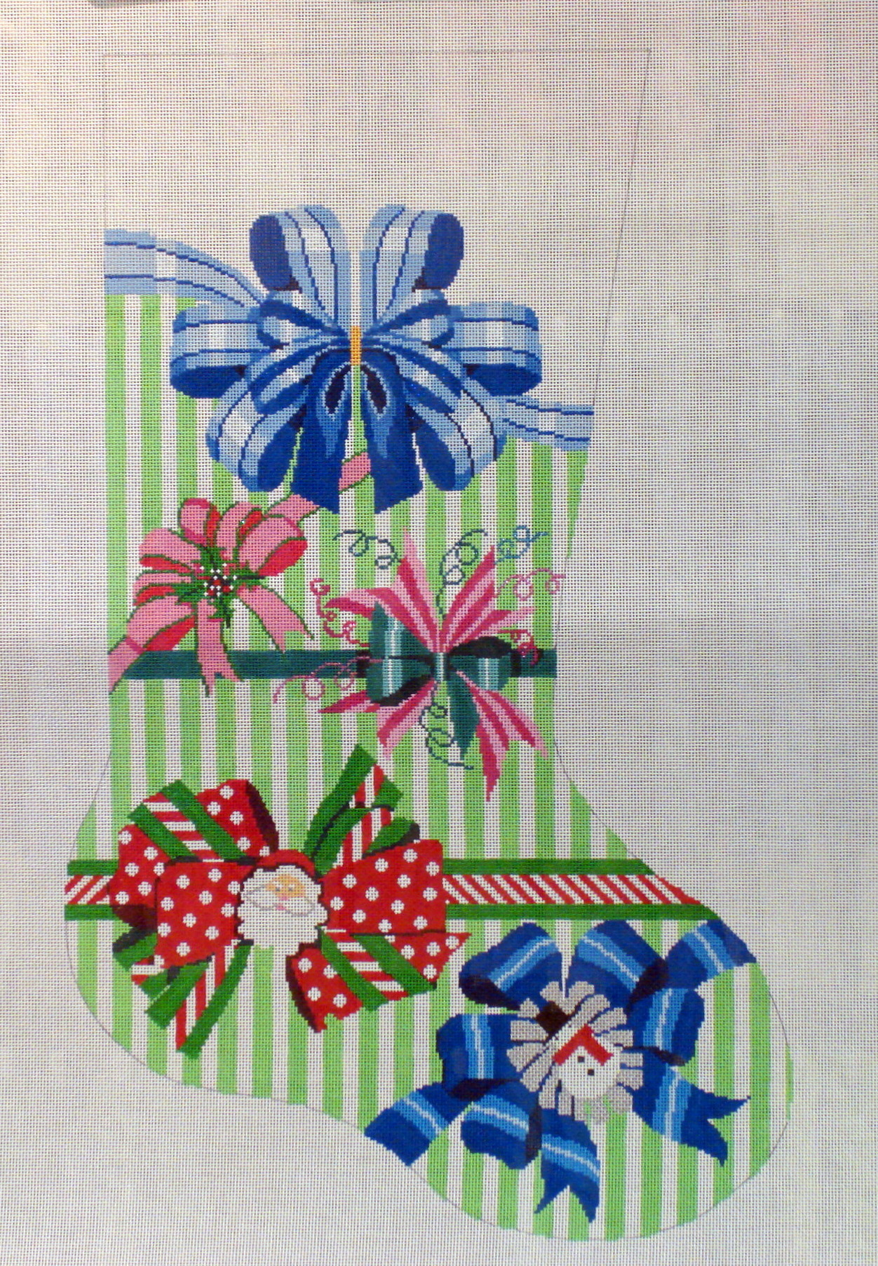 Perfect Hoiday Bow Stocking (Handpainted by Shelly Tribbey Designs) 18*CS655