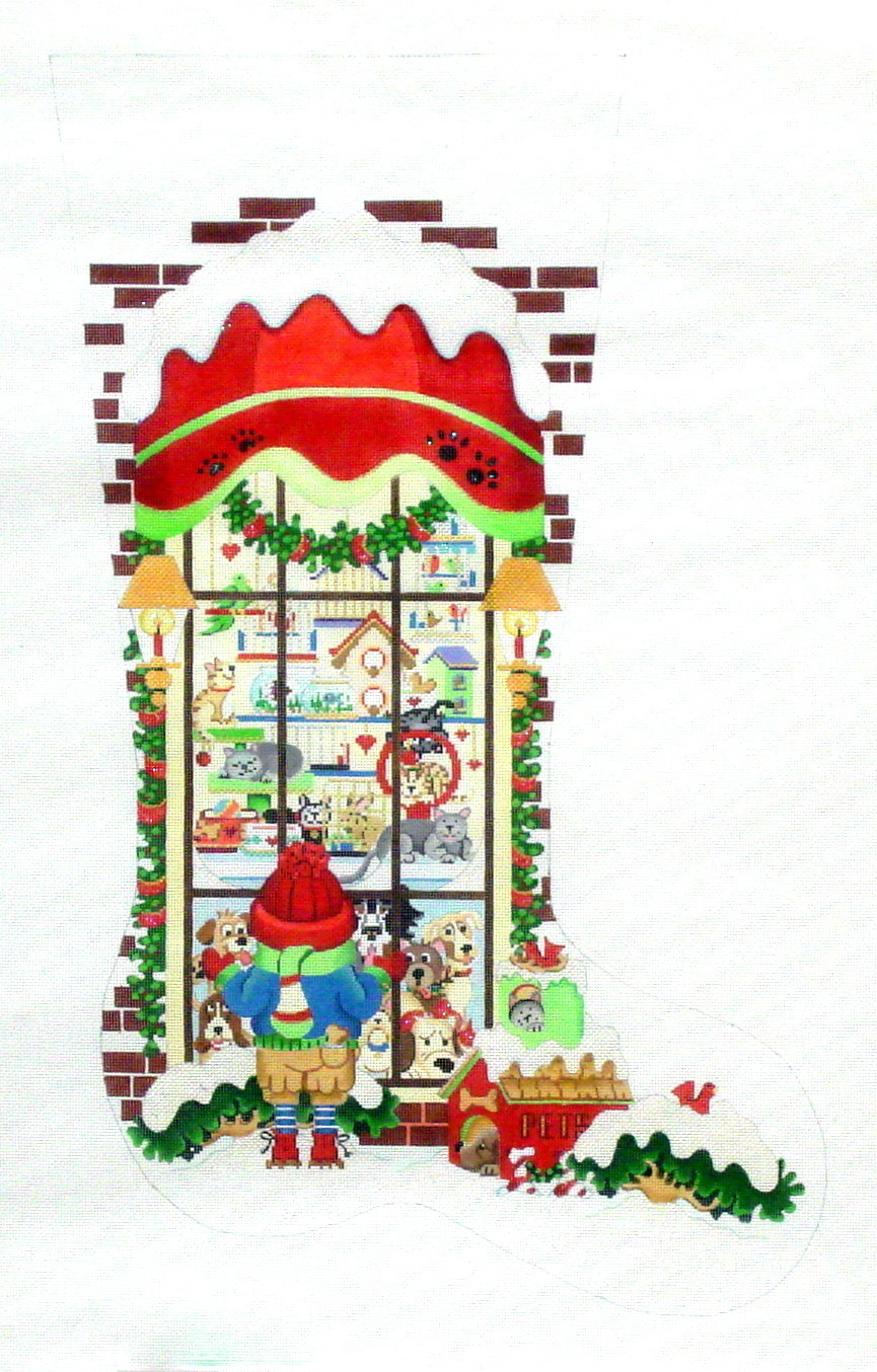 Pets & Pals Christmas Stocking   (handpainted by Strictly Christmas) 18*CS114
