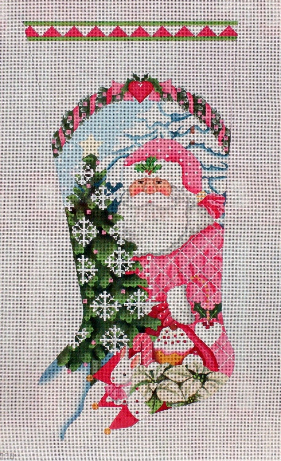 Pink Santa Stocking    (handpainted needlepoint canvas by Melissa Shirley)