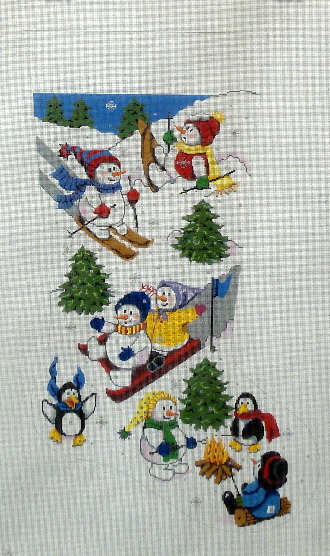 Playful Snowmen Stocking (Handpainted by Gayla Elliott Designs) 18*GE-601