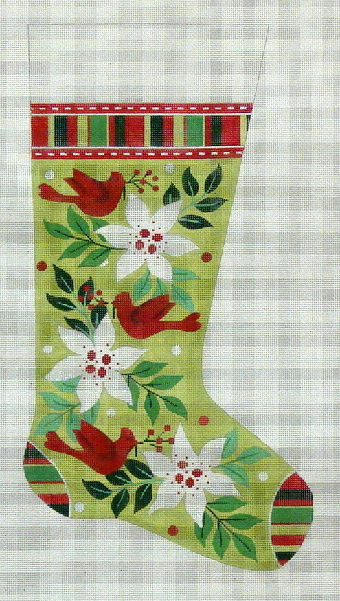 Poinsettia & Cardinal Stocking (Handpainted by Alice Peterson Company) 18*2419