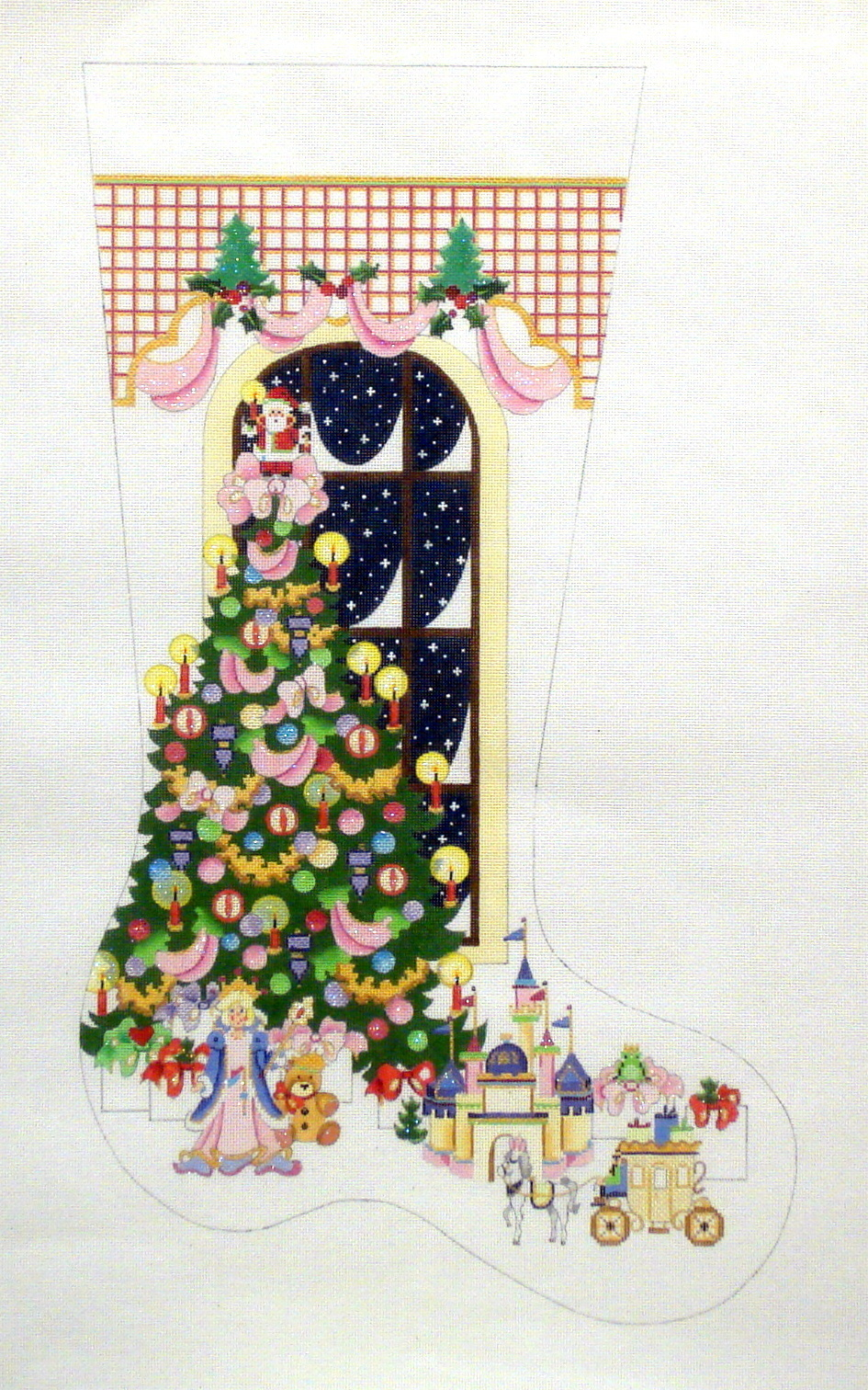 Princess Tree with Lattice Top   (handpainted by Strictly Christmas) 18*CS149