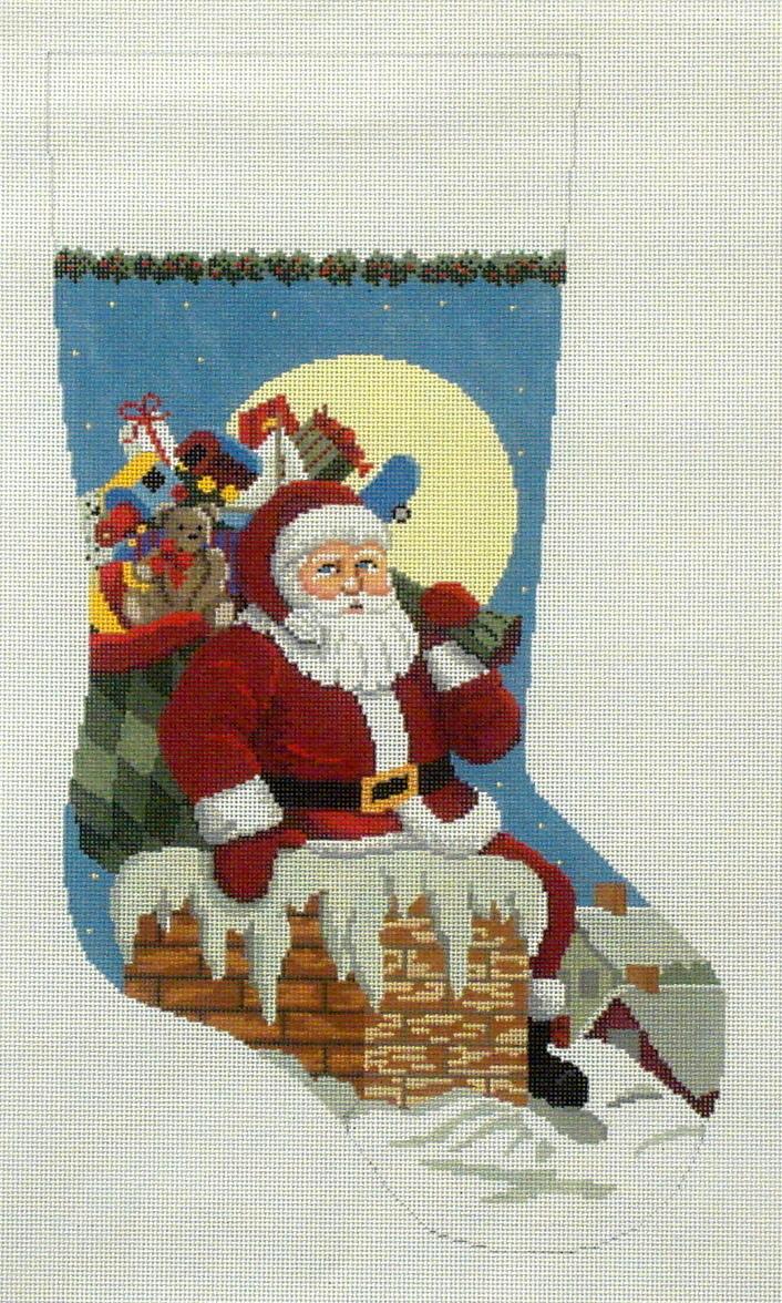 Santa Down the Chimney, Boy   (handpainted by Susan Roberts) 18*193