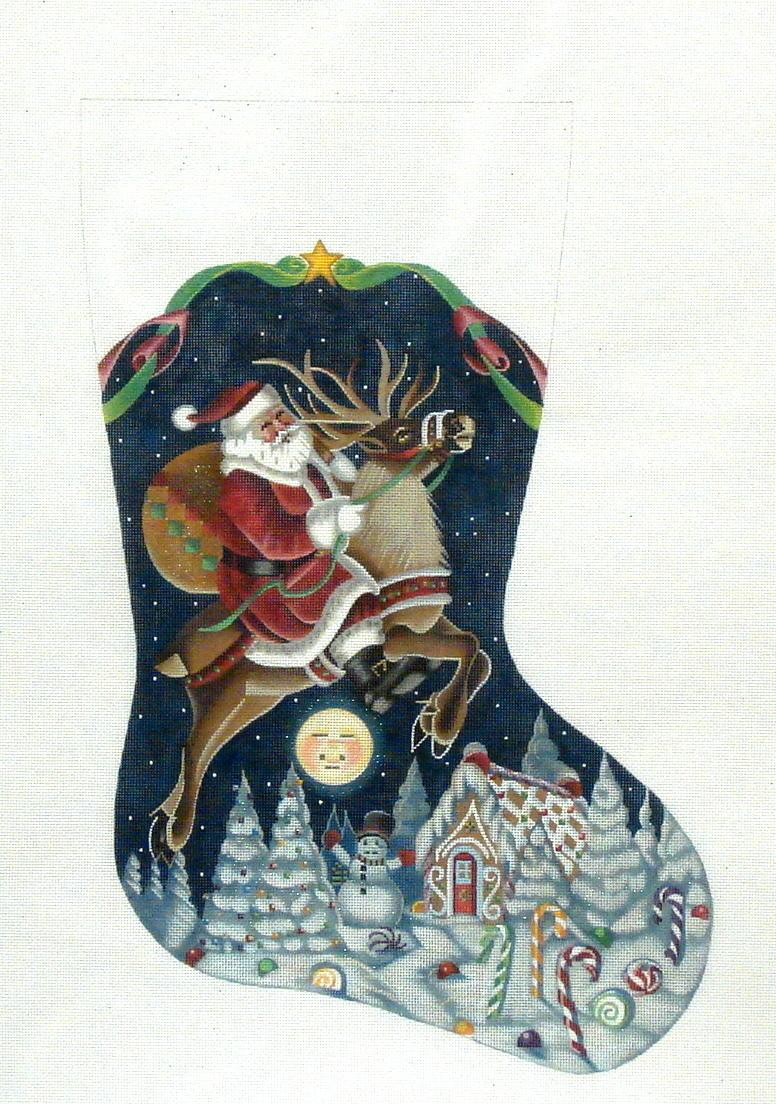 Santa on Reindeer    (handpainted by Tapestry Tent) 18*TTAXS-423
