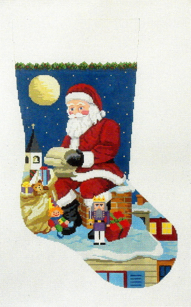 Santa Reading List On Chimney      (handpainted by Susan Roberts) 18*0120