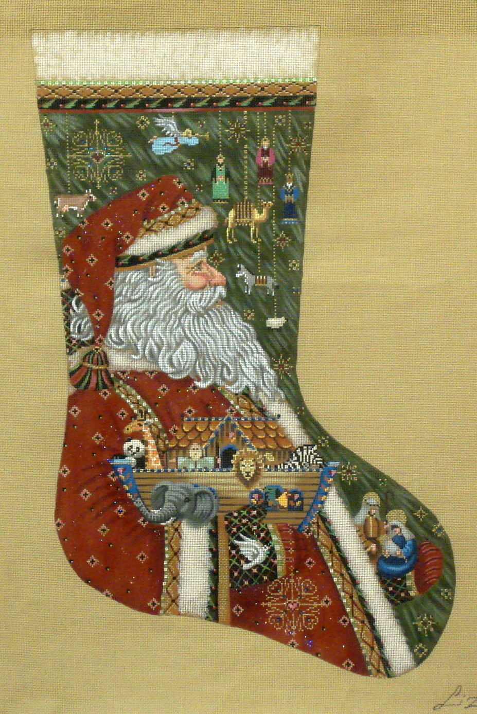 Santa's Ark & Nativity, Stocking  (handpainted from Tapestry Tent) 18*TTAXS-380