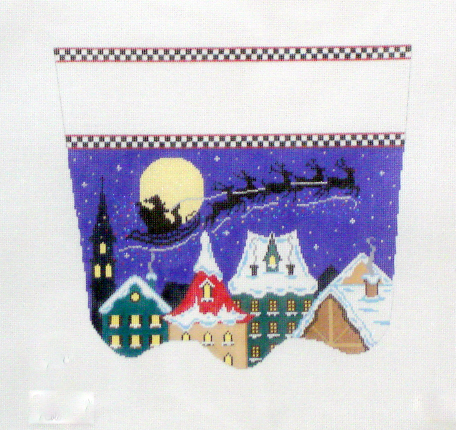 Santa's Midnight Ride Stocking Cuff      (handpainted from The Meredith Collection) 18*XC-32