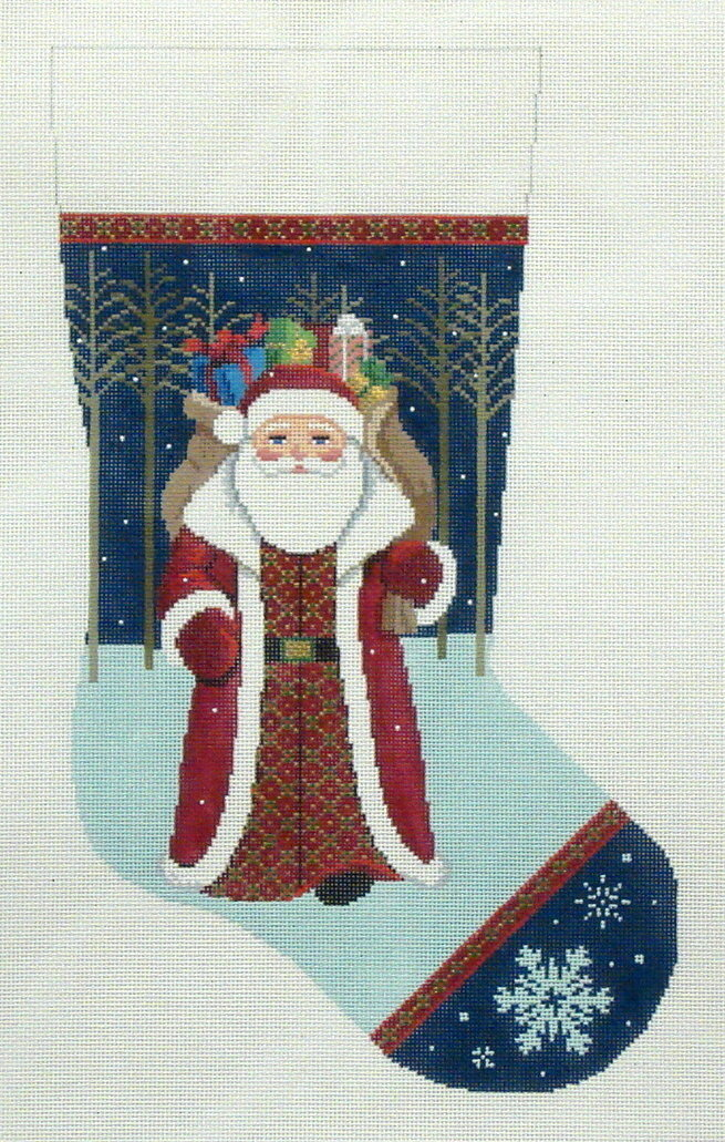 Santa Walking From Woods    (handpainted by Susan Roberts)