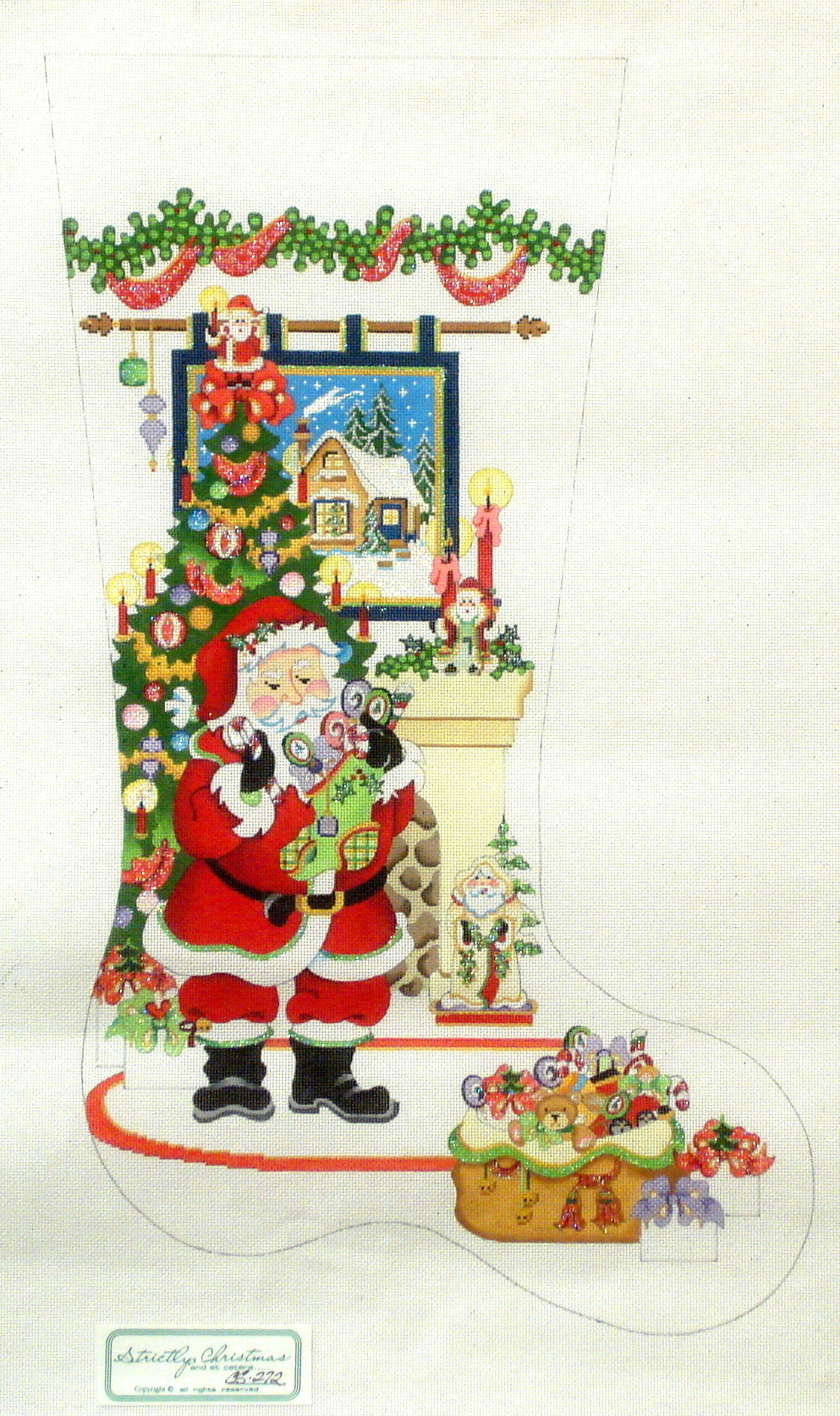 Santa with Fireplace and Tapestry  (Handpainted by Strictly Christmas) 18*CS272