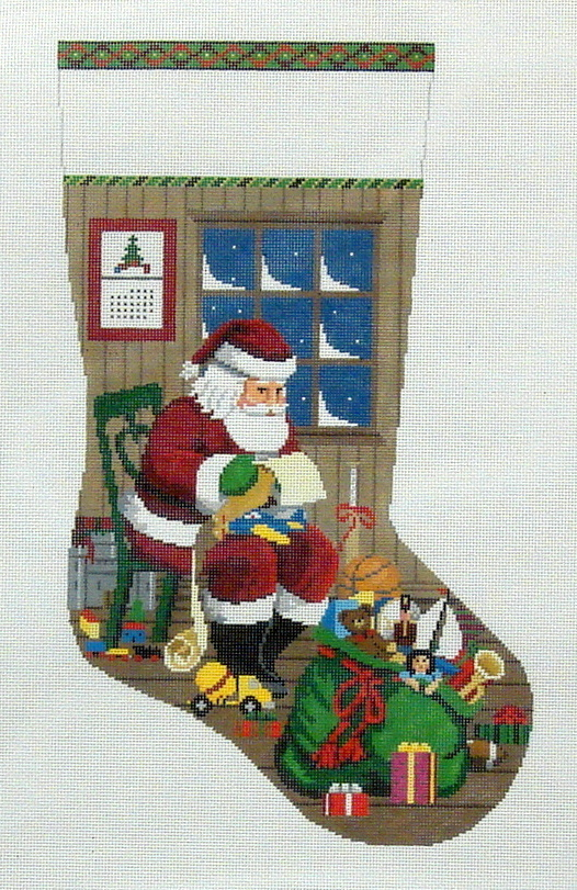 Sitting Santa Checking His List, Boy Stocking    (handpainted by Susan Roberts) 18*3210