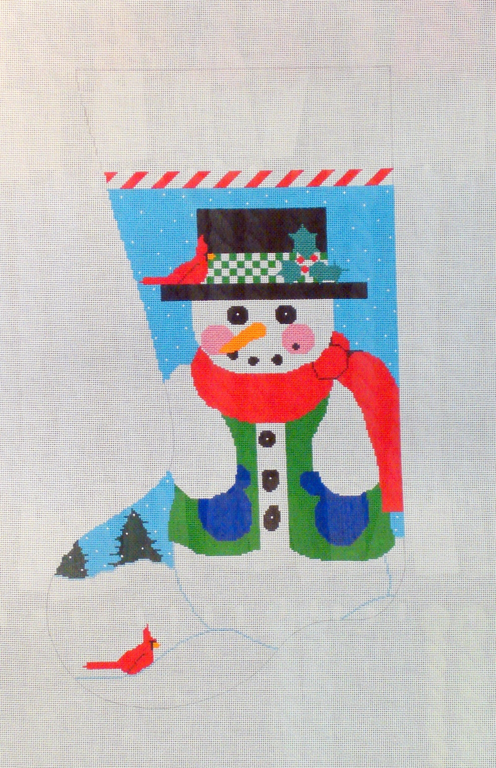 Snowman Stocking (Handpainted by Shelly Tribbey Designs) 18*CS01