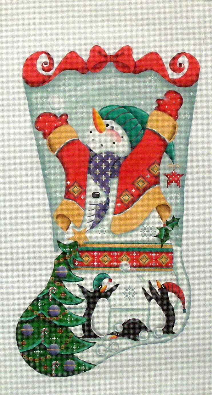 Snowmen and Penguins   (handpainted by Rebecca Woods) 18*1365B