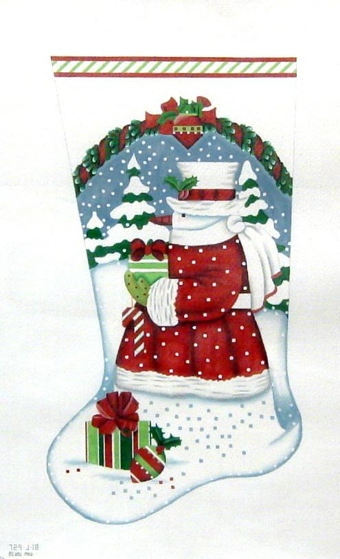 Snow Santa Stocking     (handpainted by Melissa Shirley) 18*MLT-287