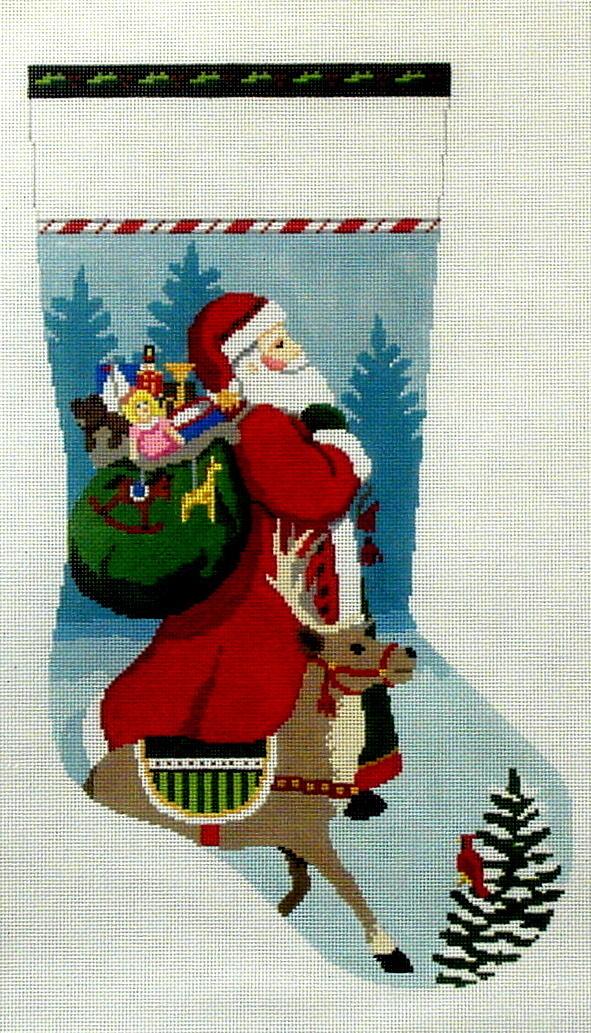 Tasseled Santa and Reindeer   (handpainted by Susan Roberts) 18*3220