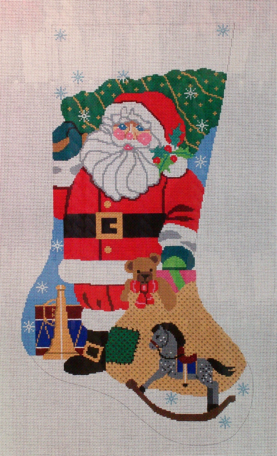 Traditional Santa Stocking (Handpainted by Shelly Tribbey Designs) 18*CS19