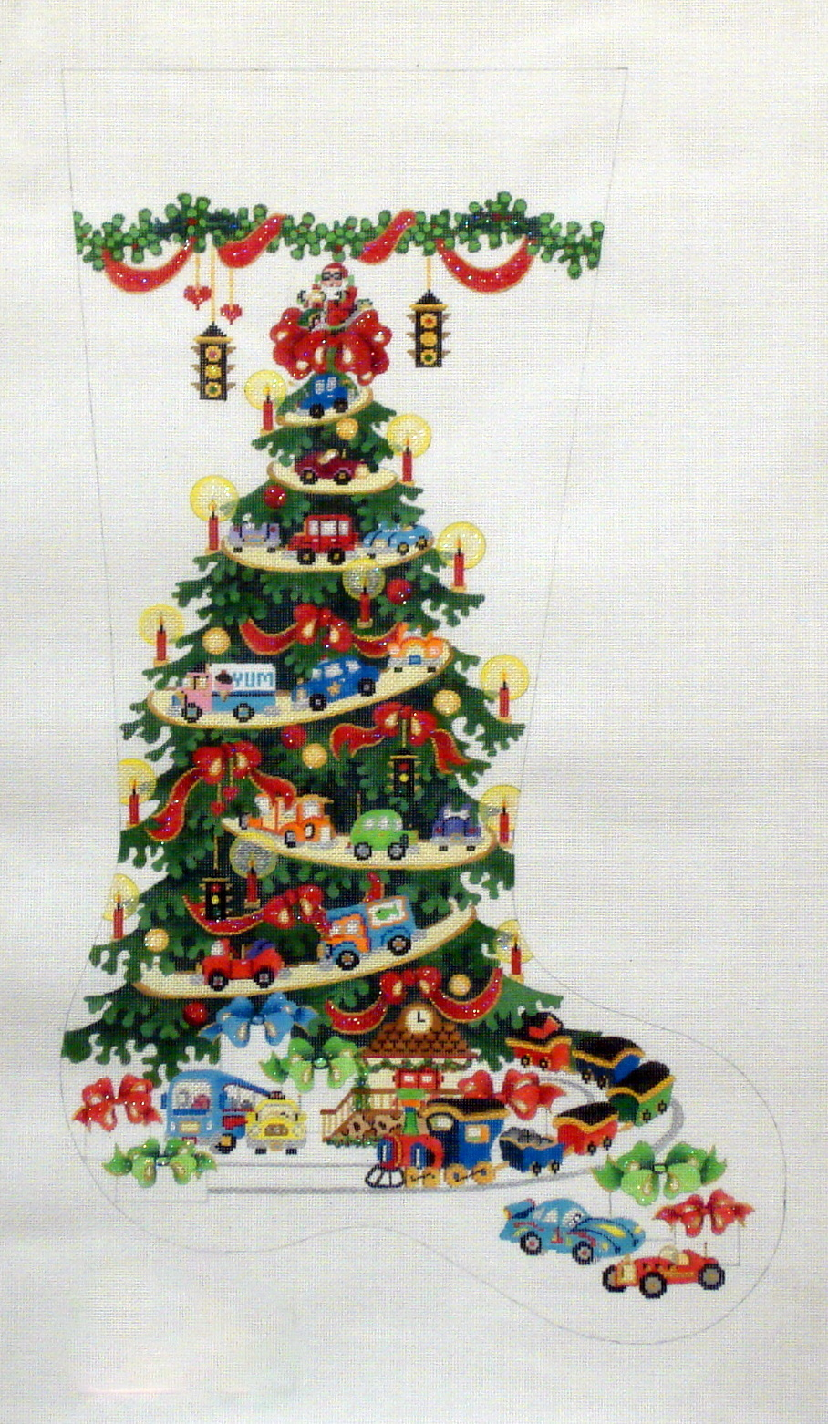 Transportation Tree, Cars & Trucks, Red Ribbons Stocking     (handpainted by Strictly Christmas) 18*CS180