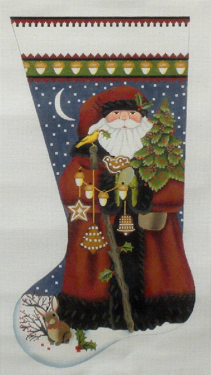 Wildwood Santa Stocking  (handpainted by Melissa Shirley) 18*205-RR