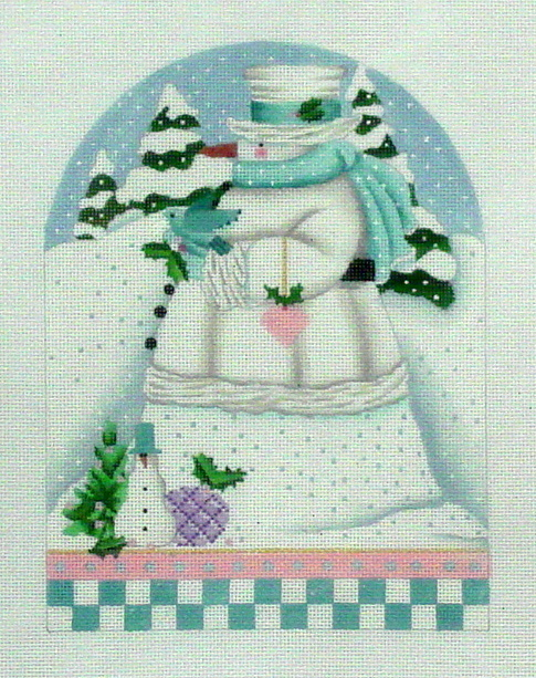 Winter White Snowman     (handpainted by Melissa Shirley) 18*1548-E