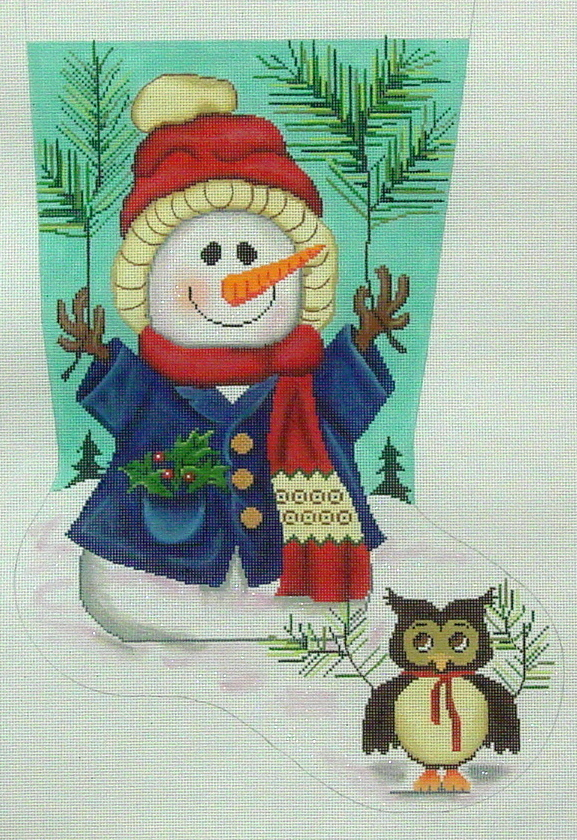 Woodland Snowman/Owl    (handpainted by All About Stitching) 18*GE647
