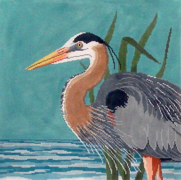 Great Blue Heron   (handpainted by Susan Roberts) 18*1043