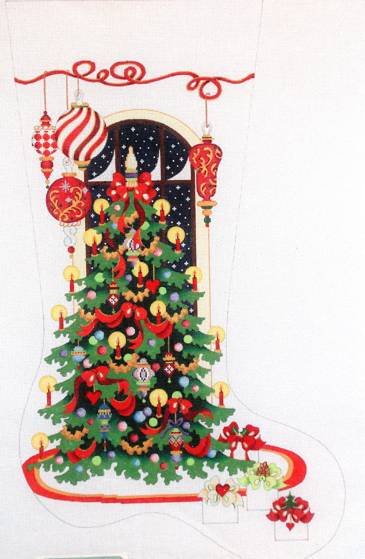 Large Contemporary with Tree       (handpainted  by Strictly Christmas) 19*CS-401