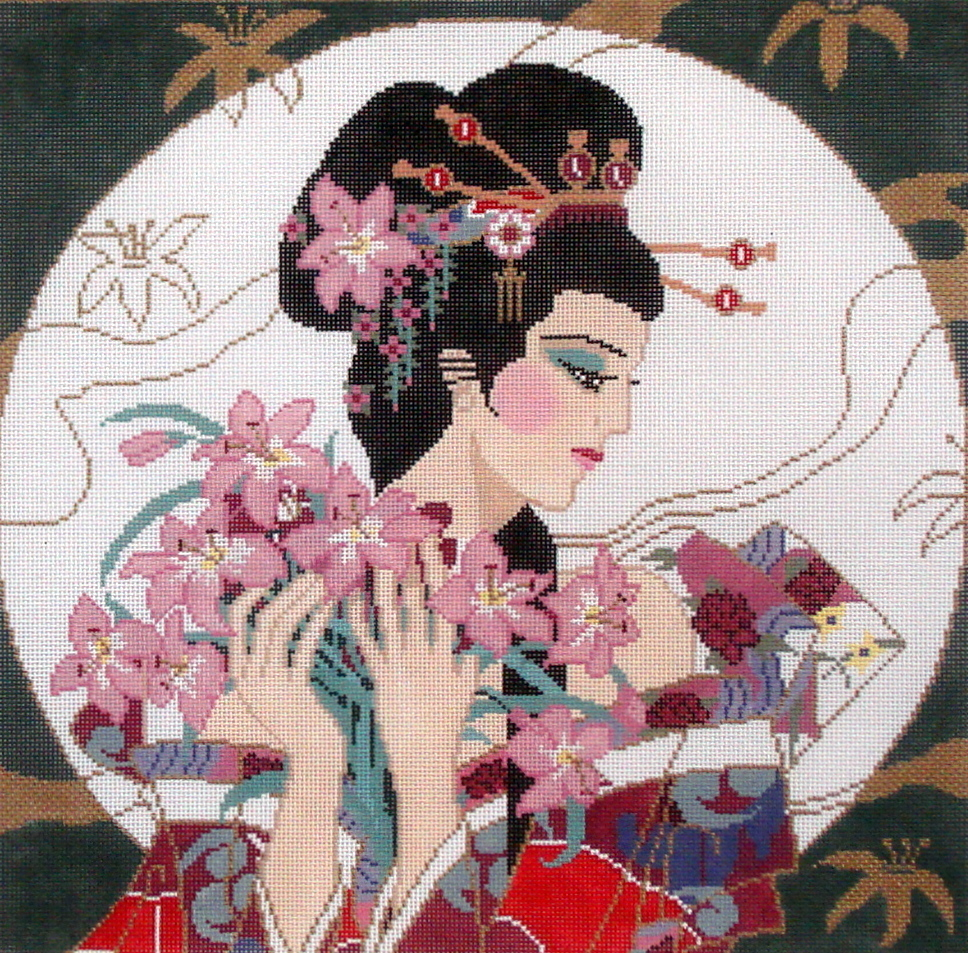 Geisha in the Moon      (hand painted canvas by Sophia) 19*SC-41