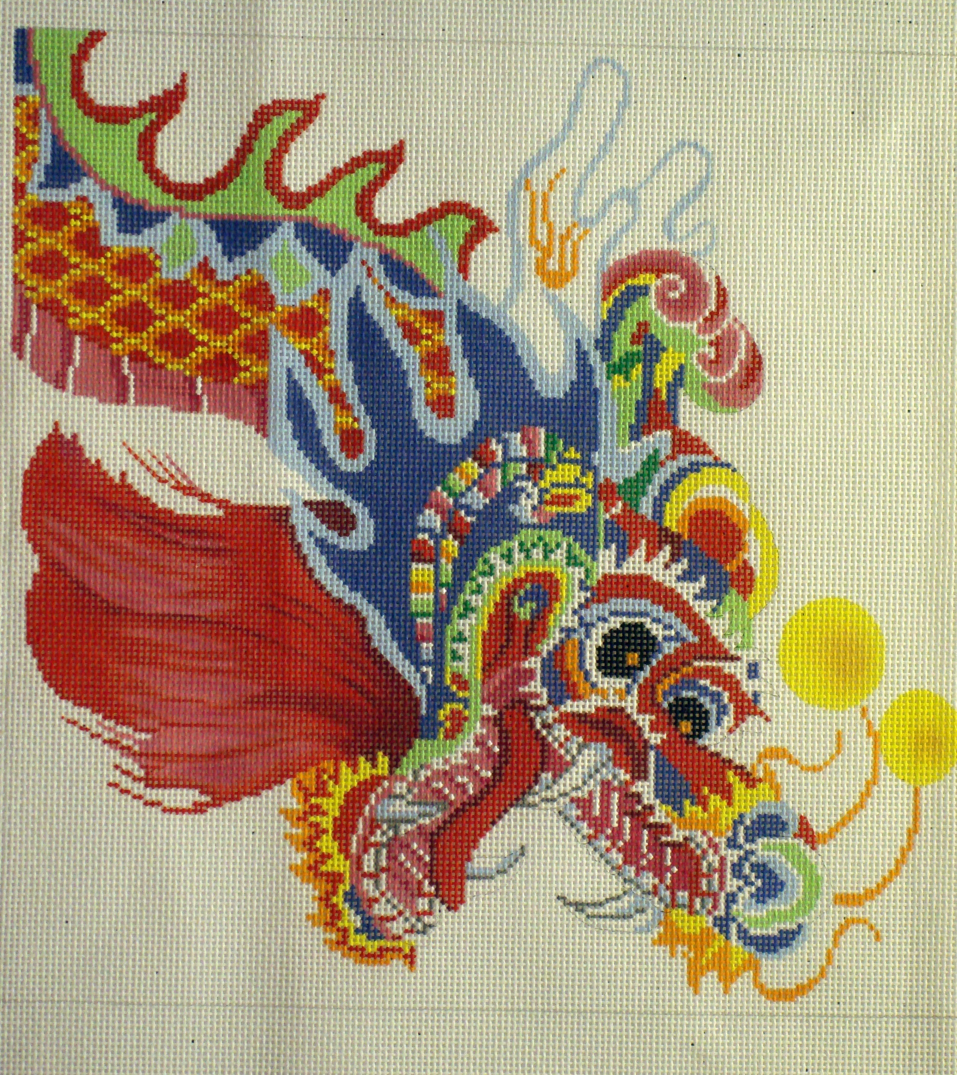 Multicolored Dragon (Handpainted by Lee's Needle Arts) 18*P1265