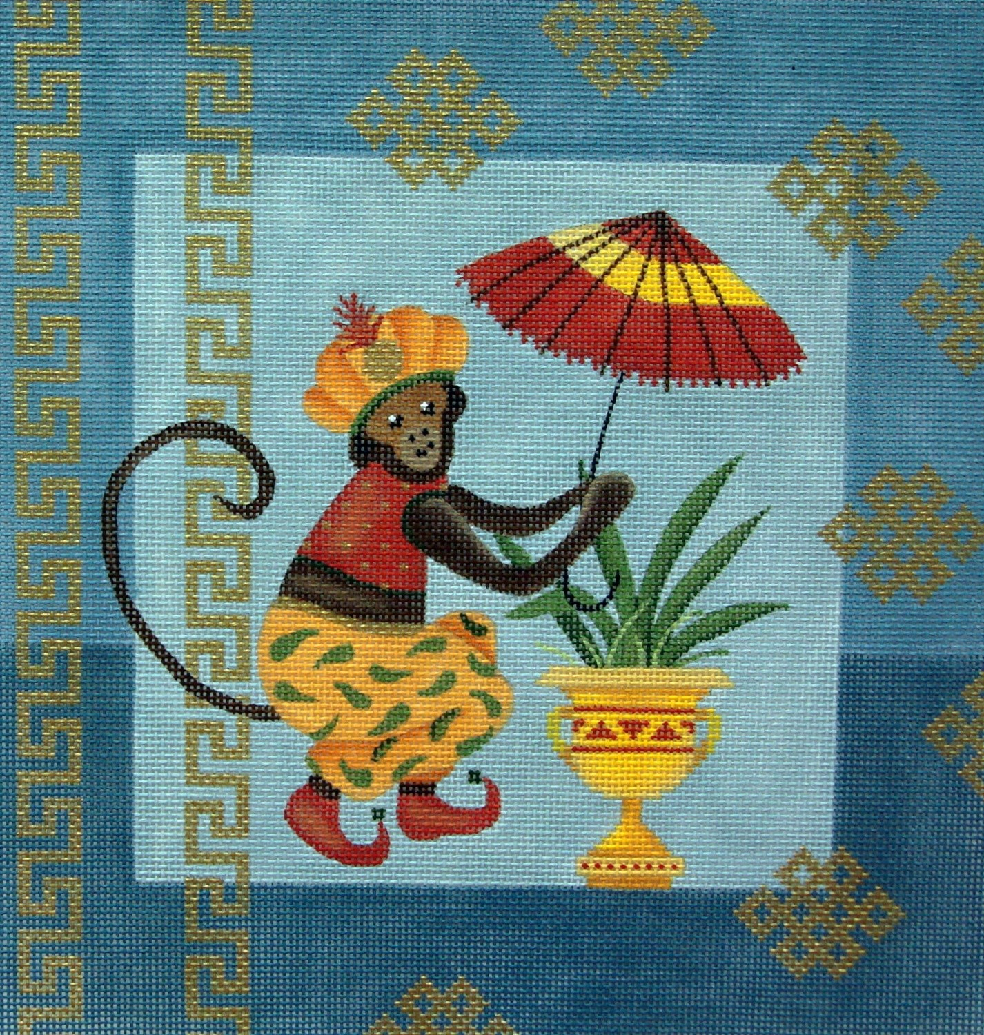 Monkey And Umbrella     (Handpainted by JP Needlepoint Design)