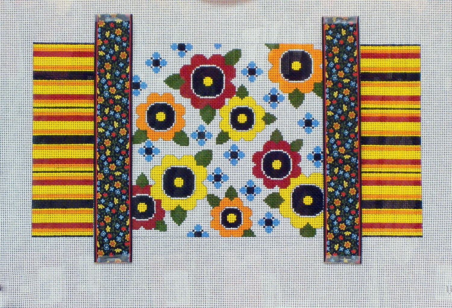 Wacky Flowers & Ribbons    (Handpainted by JP Needlepoint)