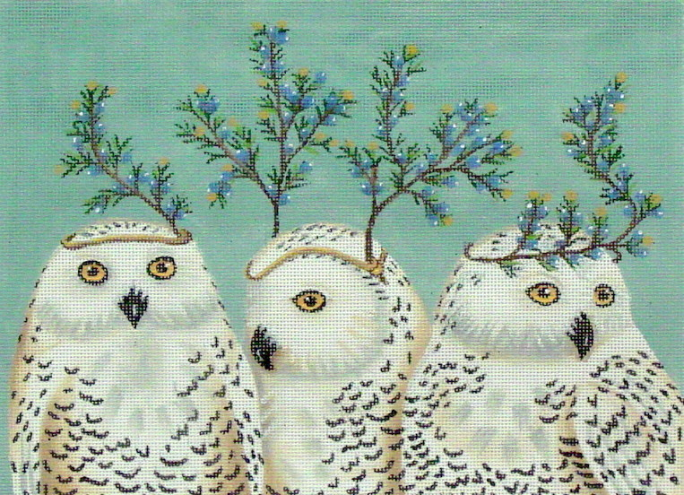 Festive Owls  (handpainted by Vikki Sawyer)