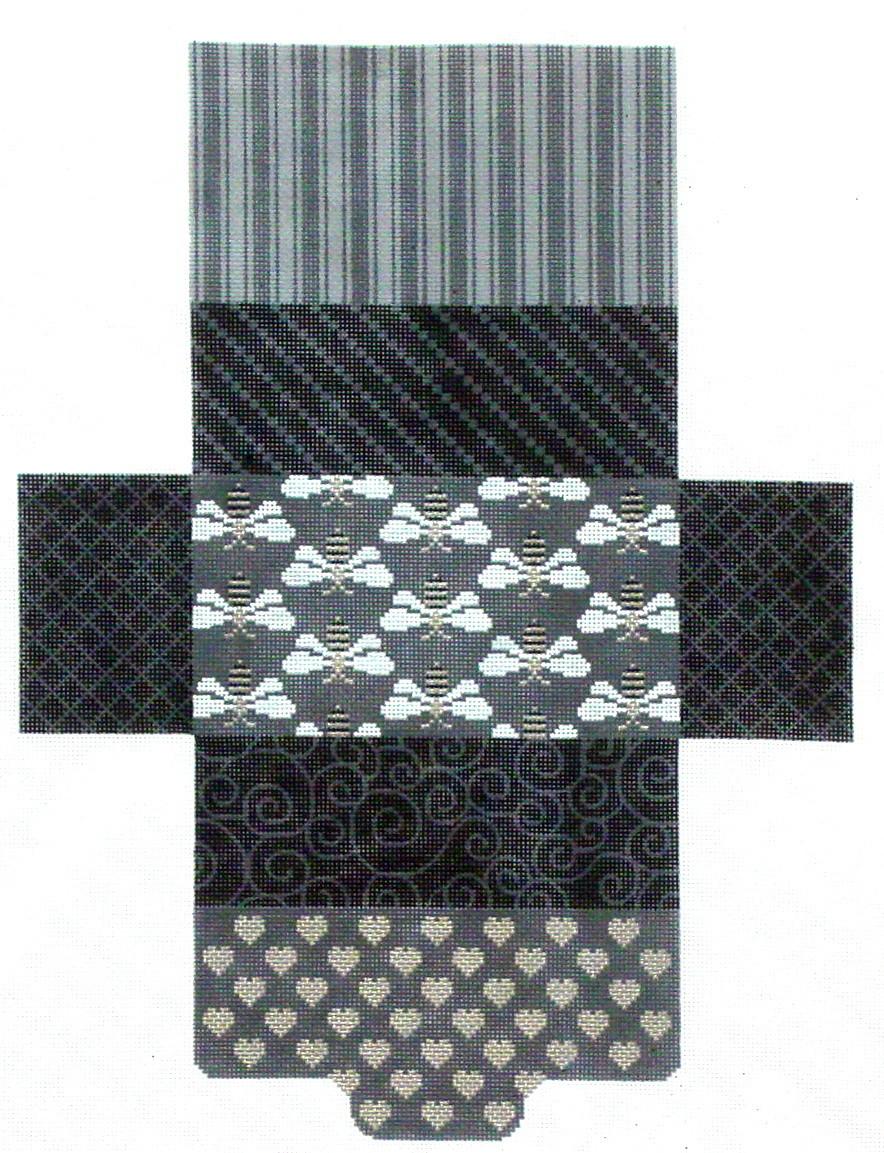 Black & Gray Bee & Hearts, Brick Bag   (Handpainted by JP Needlepoint)