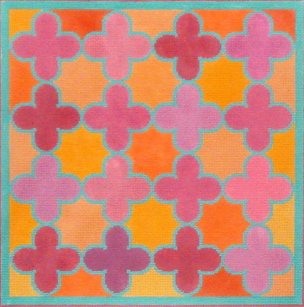 Moroccan Tiles (Quatrefoils in pinks, oranges w/turquoise)  (Handpainted by Kate Dickerson Needlepoint Collection)